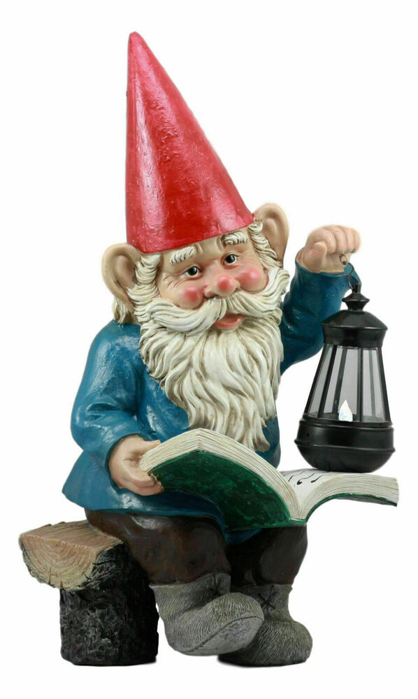"Gnome In Garden: Large 18""H Garden Gnome By The Light Figurine Lantern With"