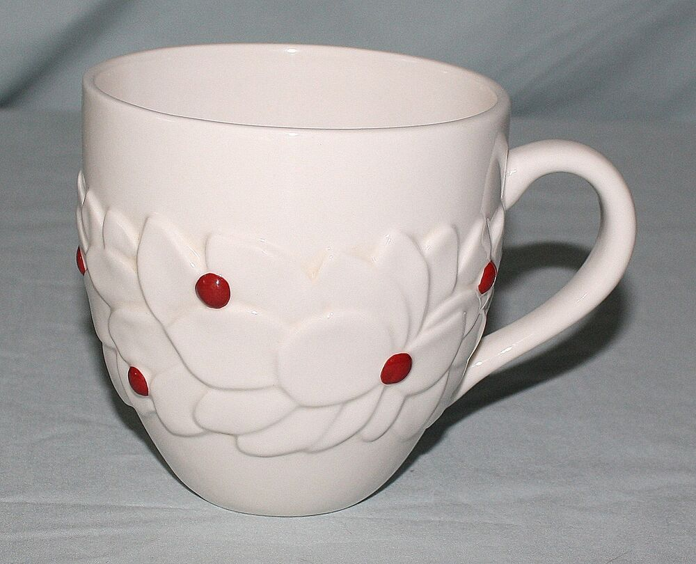 ... Mug Large Embossed White Poinsettia Red Berries Christmas | eBay: www.ebay.com/itm/2004-Starbucks-Coffee-Mug-Large-Embossed-White...