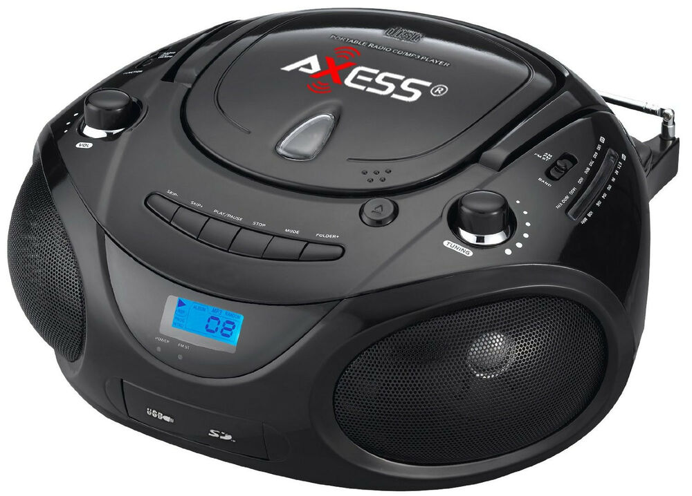 Axess pb2703 black portable boombox mp3 cd player text - Mobile porta cd ...