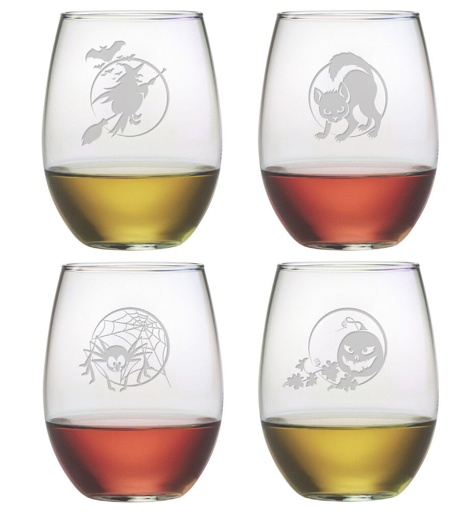 Halloween Designs Stemless Wine Glasses Set Of 4 Each