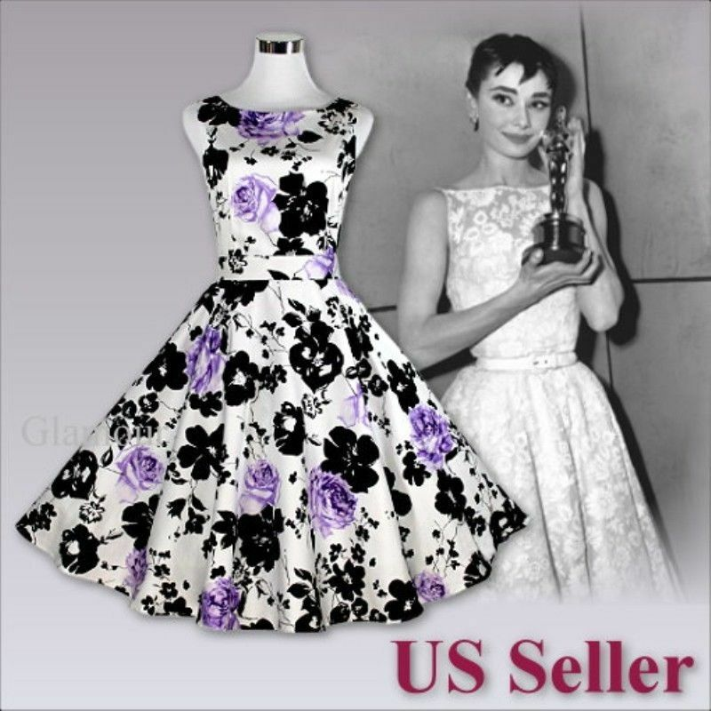 Purple Rose Audrey Hepburn Style 50s Swing Evening Party