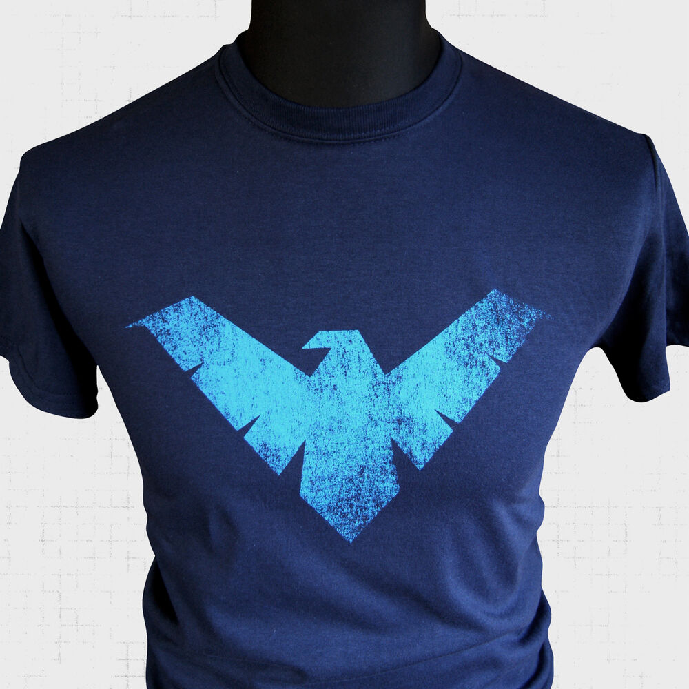 nightwing logo t shirt super hero superman batman marvel. Black Bedroom Furniture Sets. Home Design Ideas