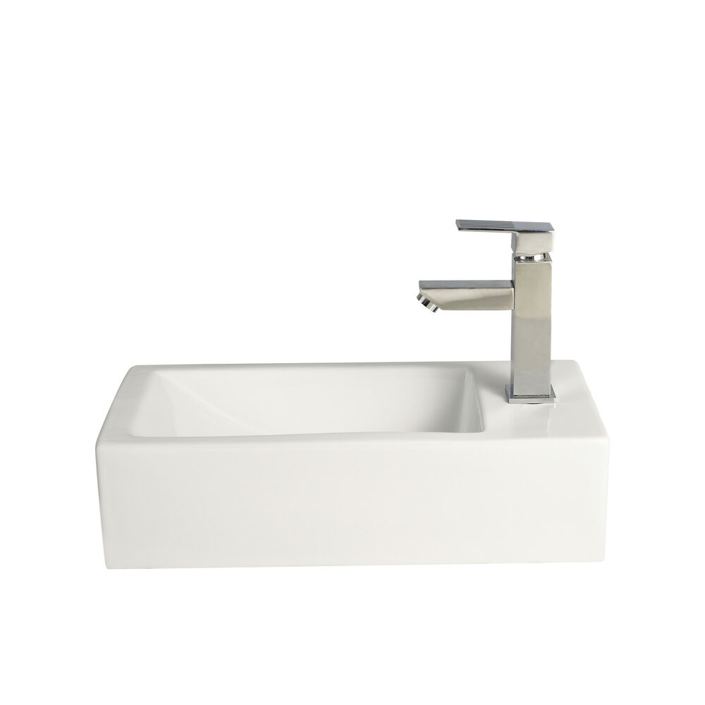 Small Compact Square Rectangle Cloakroom Basin Bathroom Sink Wall Hung ...