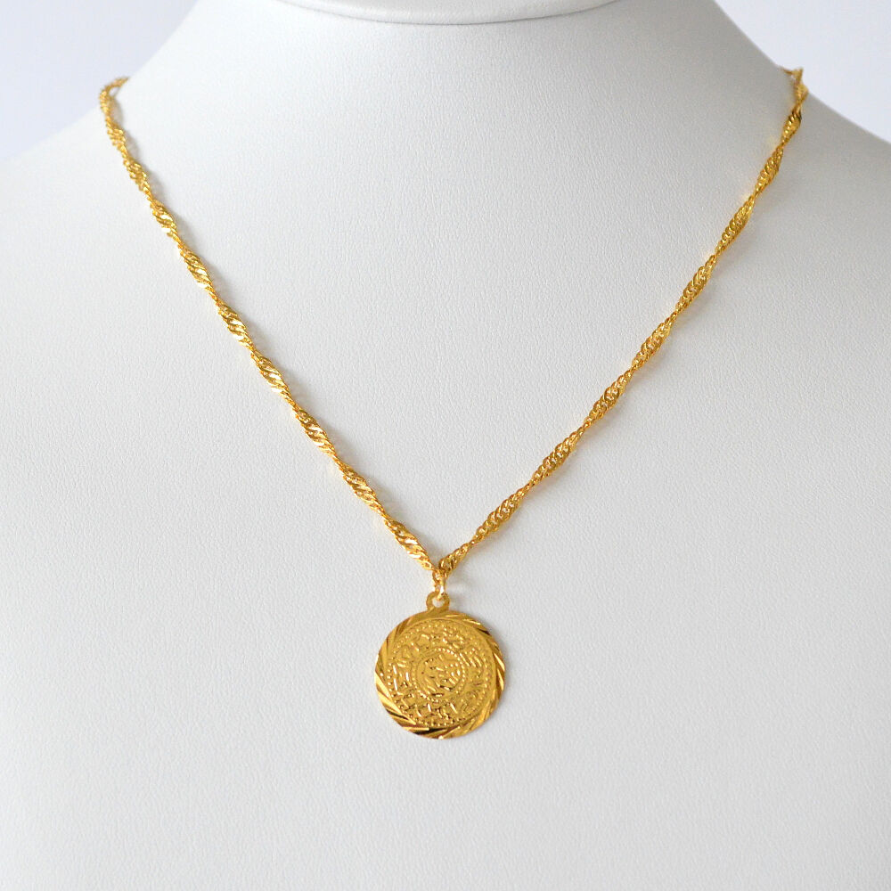 Middle east coin jewelry arabic coin pendant 24k gold plated middle east coin jewelry arabic coin pendant 24k gold plated necklaces size 205 ebay aloadofball Image collections