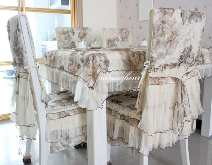 fabric gauze lace table cloth dining chair cushion cover bloom ebay