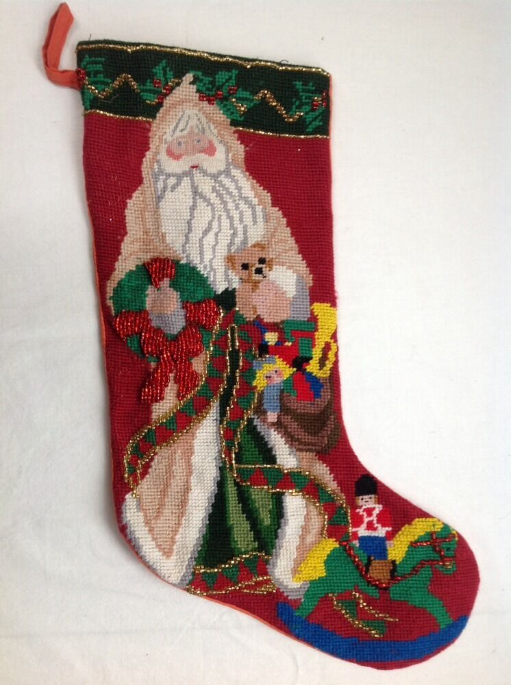 Vintage Needlepoint Christmas Stocking Victorian Santa
