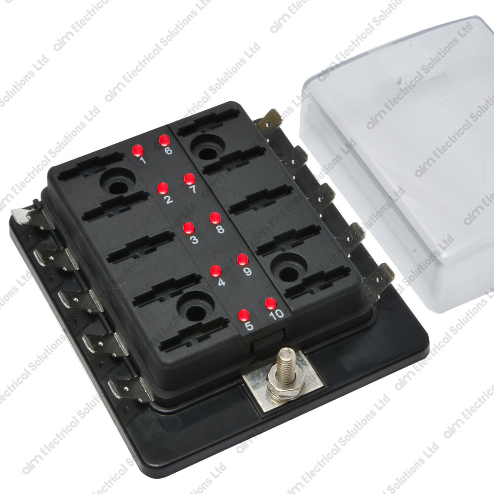 10 Way Blade Fuse Box Holder Bus Bar With LED Failure