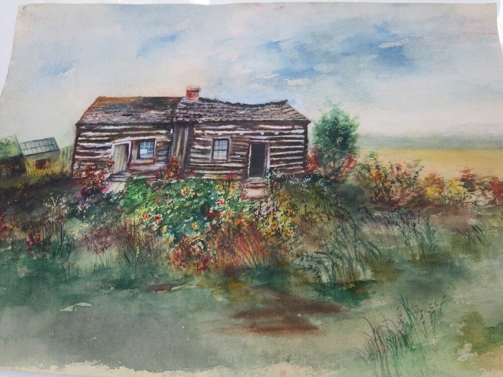 Old watercolor art painting log cabin ebay for Log cabin painting