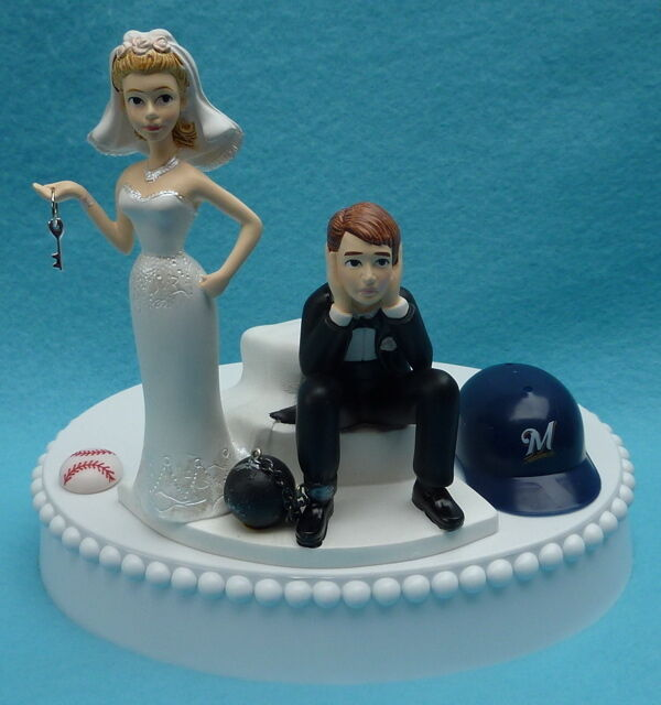 sports wedding cake toppers wedding cake topper milwaukee brewers baseball key themed 7624