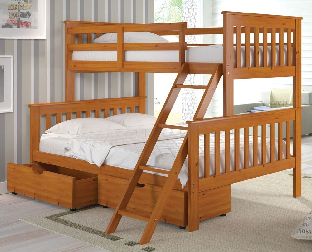 twin over full bunk bed w trundle or storage drawer option honey ebay. Black Bedroom Furniture Sets. Home Design Ideas