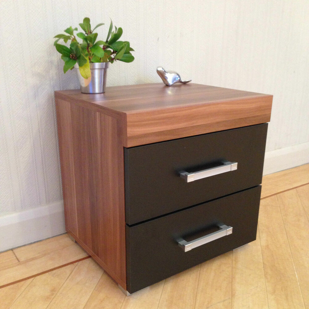 drawer black walnut bedside cabinet table bedroom furniture