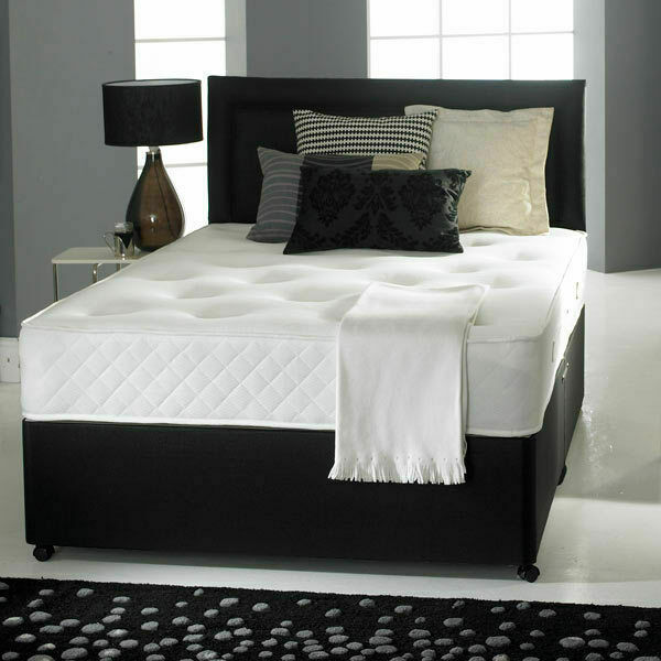 Pocket Sprung Memory Foam Black Leather Divan Bed Headboard 3ft 4ft6 Double 5ft Ebay