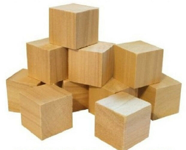 Natural wood toy building block cube inch size set