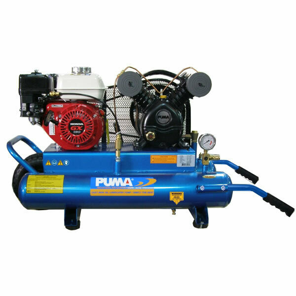 Puma 5 5 hp 8 gallon gas wheelbarrow air compressor w for Air compressor gas motor