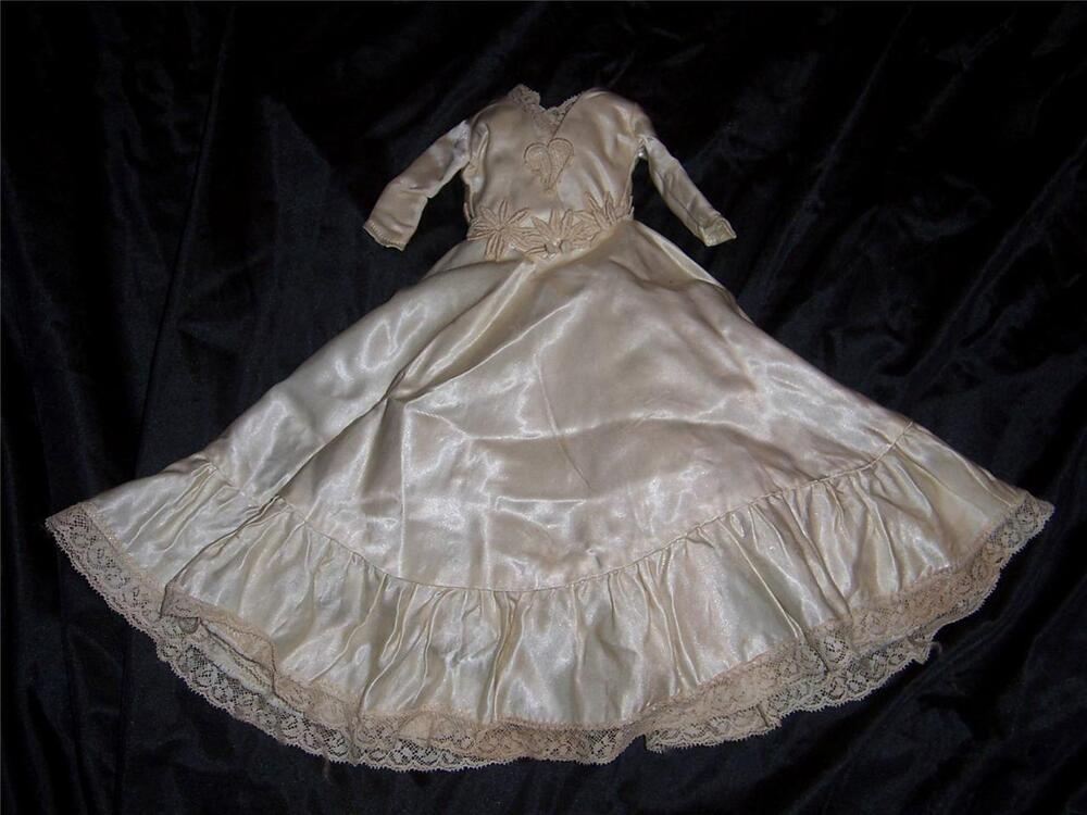 Doll Antique Satin And Lace Ivory Wedding Dress With