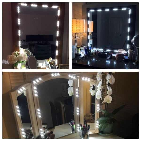 5ft white dressing mirror lighted cosmetic makeup vanity led light remote power ebay. Black Bedroom Furniture Sets. Home Design Ideas