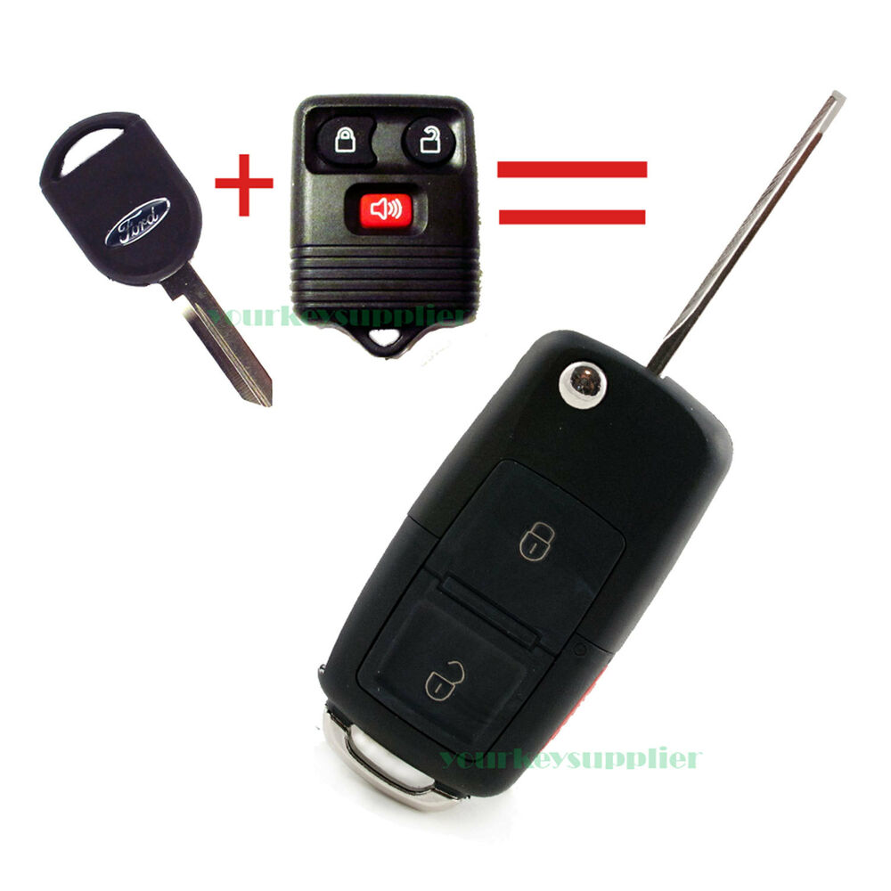New flip key fob keyless entry remote combo 3 button for ford vw style ebay