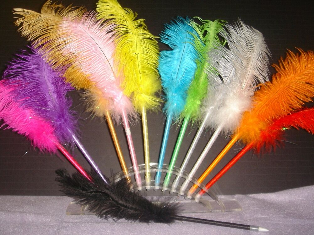 "... Pcs of 12"" Feather Pen for Party Favor or Wedding Registry Pen 