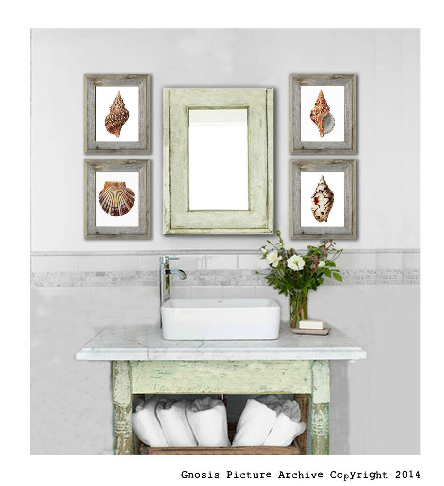 Sea shells beach theme decor art prints set of 4 wall art for Bathroom wall decor uk