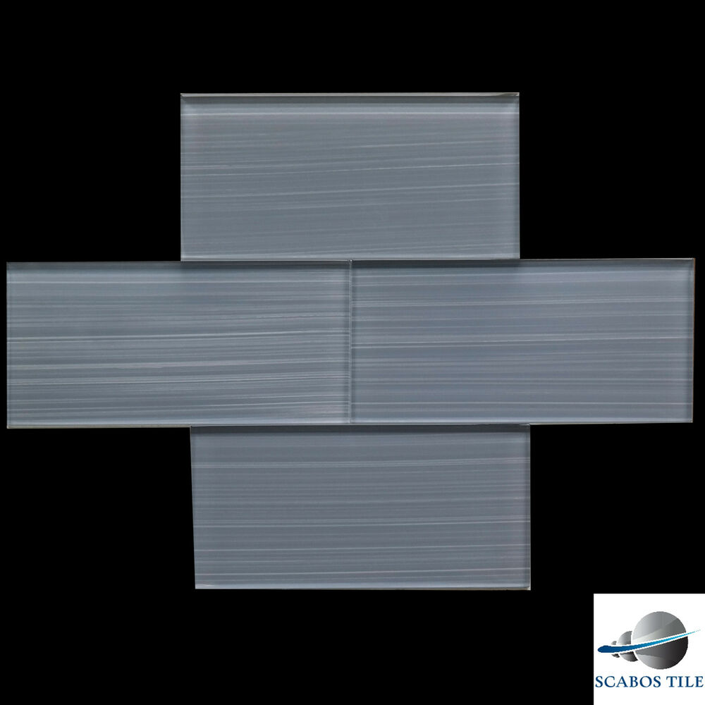 Bamboo Tiles For Bathroom: OCEAN GREY BAMBOO GLASS TILE SUBWAY TILE 3x6 Kitchen