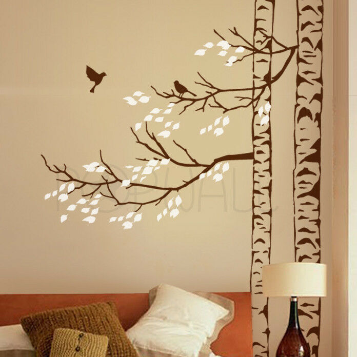 Trees With Leaves And Birds Tree Wall Decal Sticker
