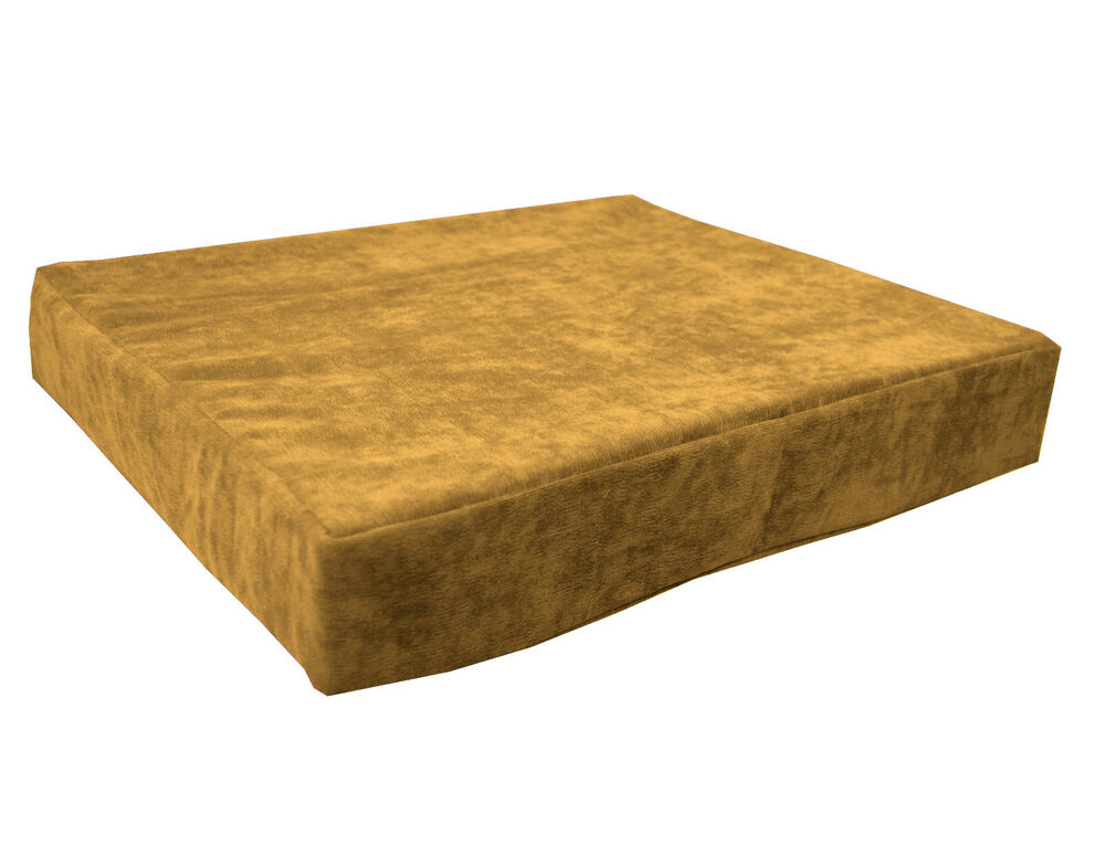 Ma19t Pale Gold Brown Velvet Style 3d Box Thick Sofa Seat