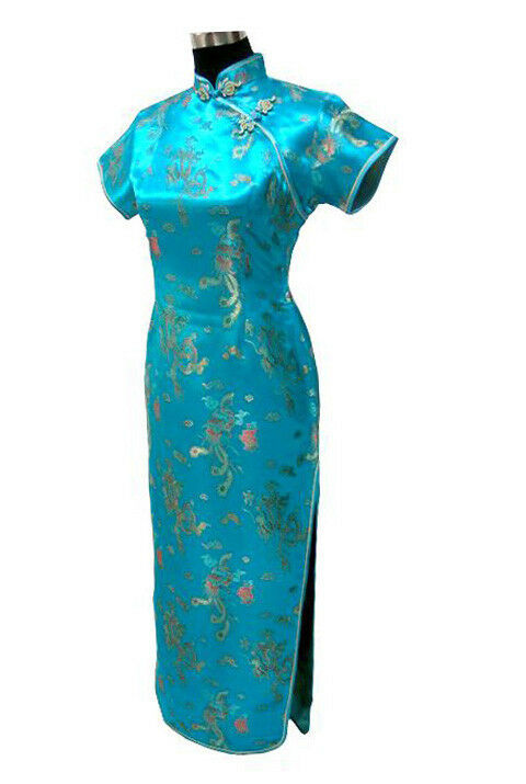Vtg Asian Women Lake Blue Long Chinese Evening Prom Pencil