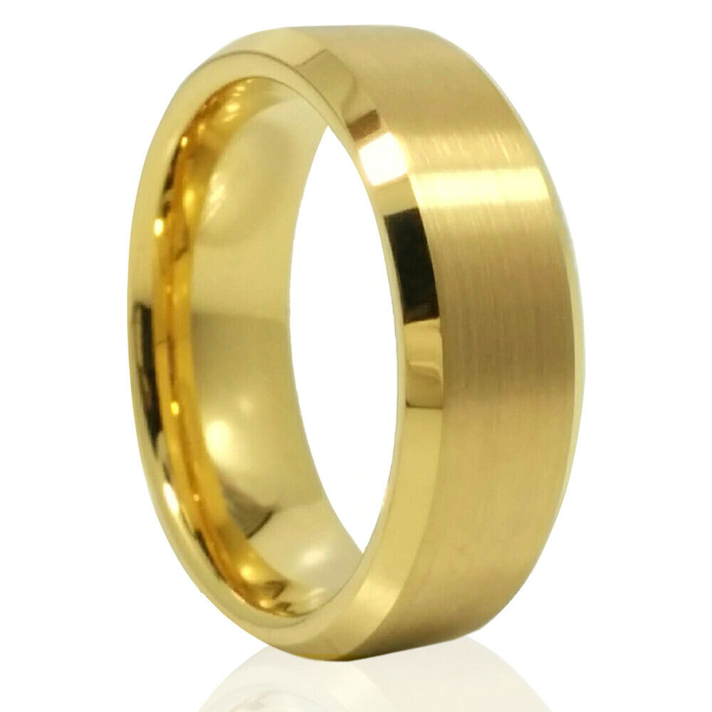 Tungsten Carbide 18k Gold IP Wedding Engagement Band Promise Ring Mens Classic