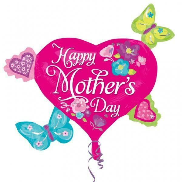 Happy Mothers Day Butterfly & Hearts Supershape Foil ...