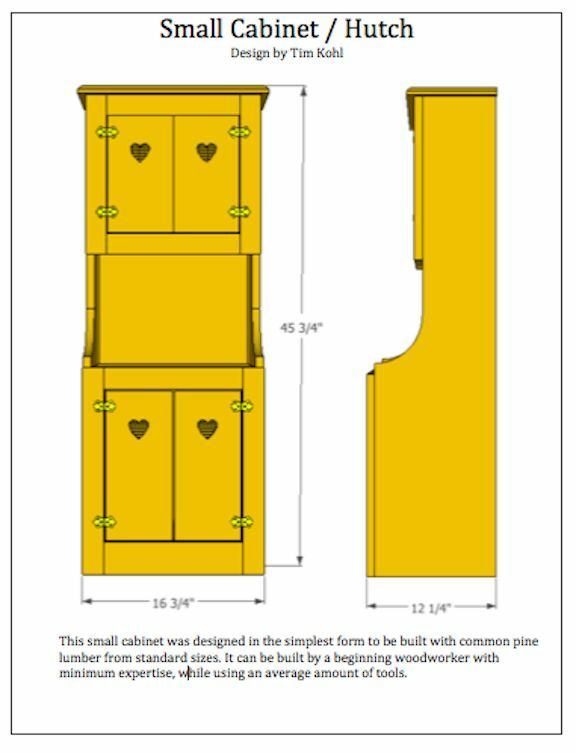 Woodworking plans small pine cabinet hutch for Wood hutch plans