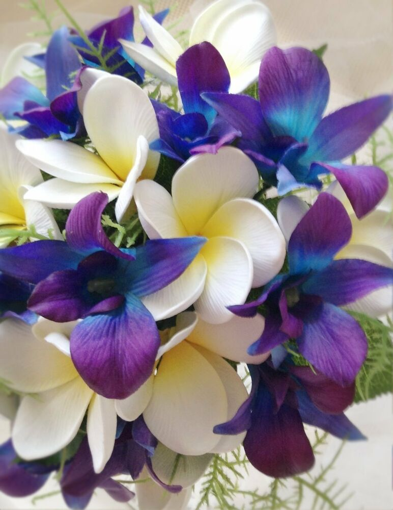 "Blue Purple orchids & Frangipani ""Real Touch"" Bridal ..."