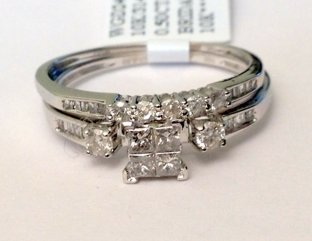 White gold quad princess cut round diamond engagement for Ebay diamond wedding ring sets