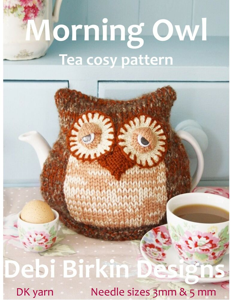 Owl tea cosy knit pattern cozy cosies debi birkin ebay for Tea cosy template
