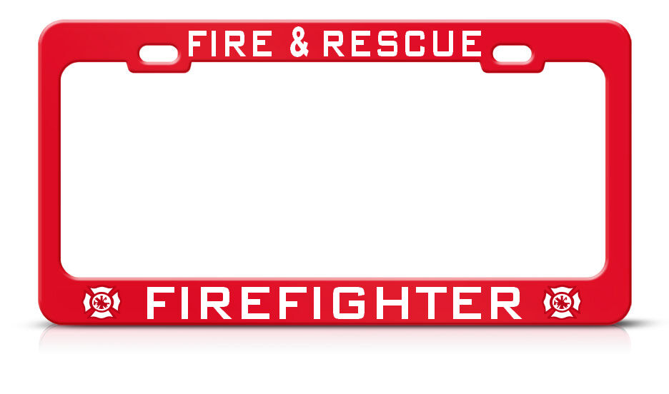 Fire Amp Rescue Firefighter Red Heavy Duty Metal License