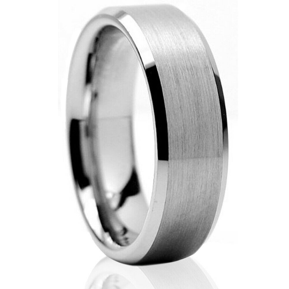 Tungsten Carbide Wedding Band Ring Brushed Silver Mens Jewelry Size 6 15 Ha