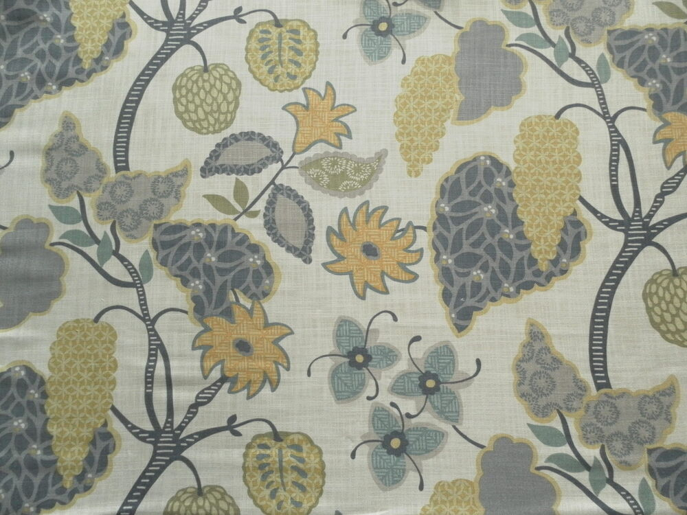 Villa nova curtain fabric indienne agapanthus linen for Architecture indienne