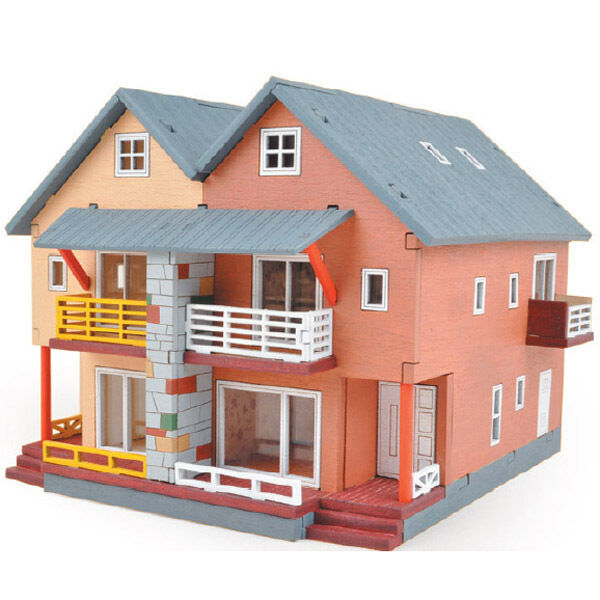 Ym657 ho series duplex house wooden model kit ebay for Kit homes duplex