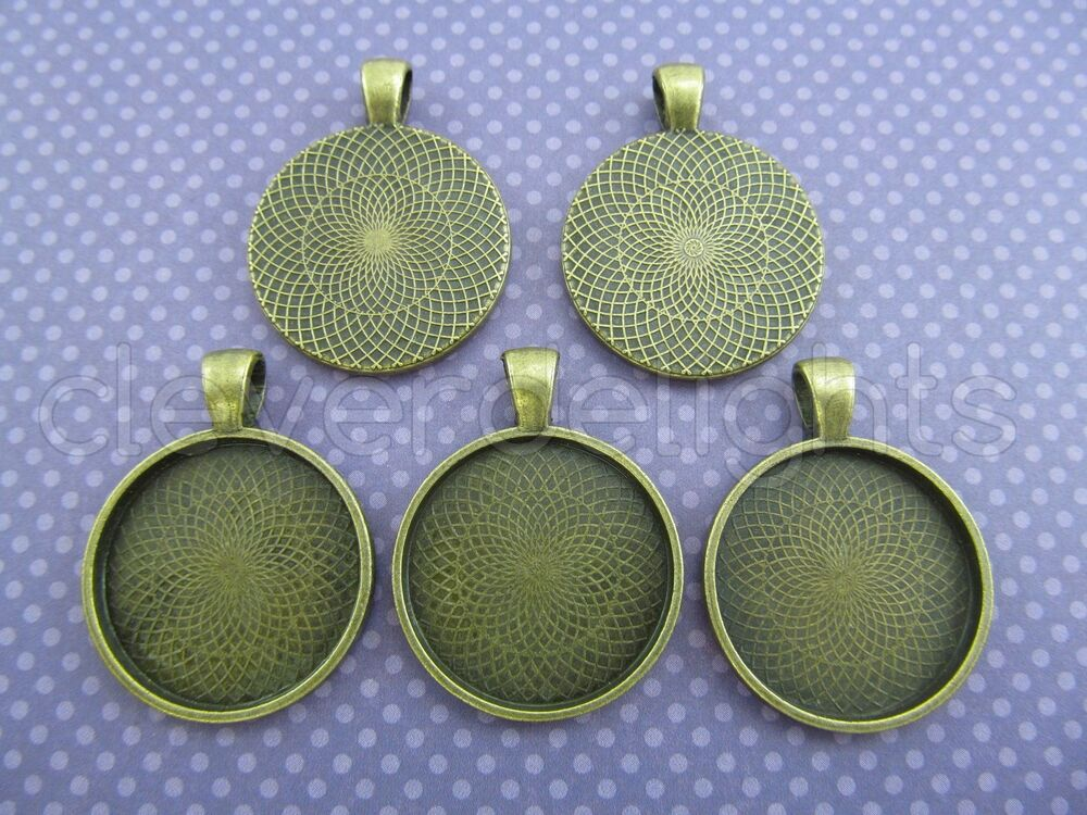 Pendant Trays Antique Bronze Color Cameo Craft 25mm 1 Inch | eBay