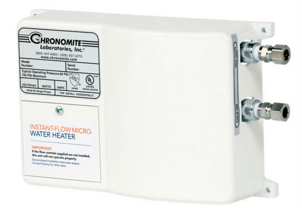 electric tankless water heater chronomite m 30 240 instant flow micro tankless electric 10887
