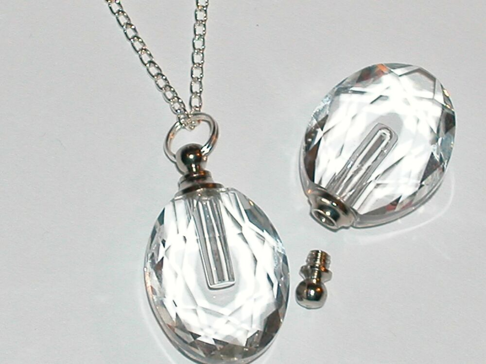 ashes to glass jewelry 1pc glass oval pendant cremation urn ashes perfume bottle 9160
