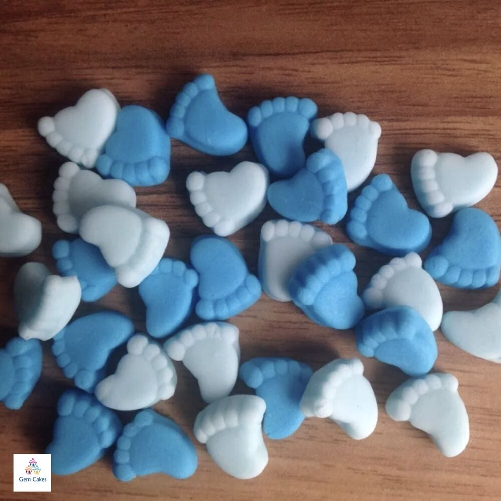 30 BLUE MIX BABY BOY FEET Edible Cake Cupcake Decorations ...