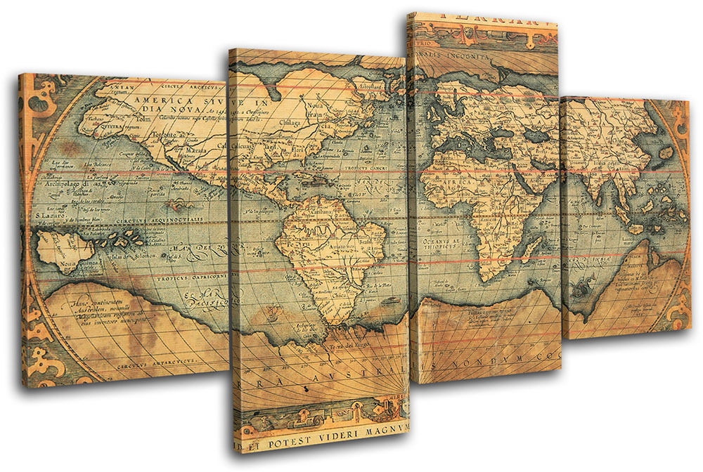 old world atlas maps flags multi canvas wall art picture print va ebay. Black Bedroom Furniture Sets. Home Design Ideas