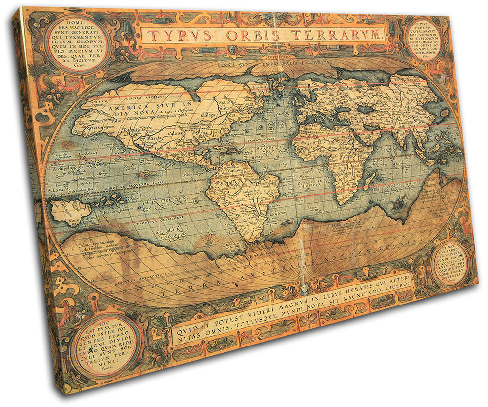 Old World Atlas Maps Flags SINGLE CANVAS WALL ART Picture