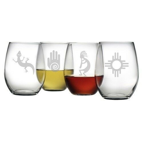 Stemless Wine Glasses With Southwestern Themes Designs Set