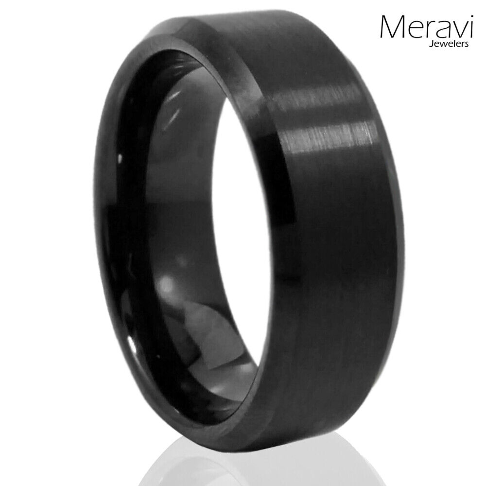 black tungsten carbide wedding band ring mens jewelry comfort fit