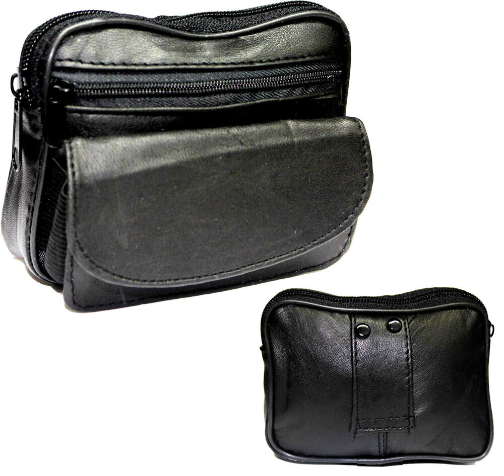black leather zips belt purse coin pouch handy bag