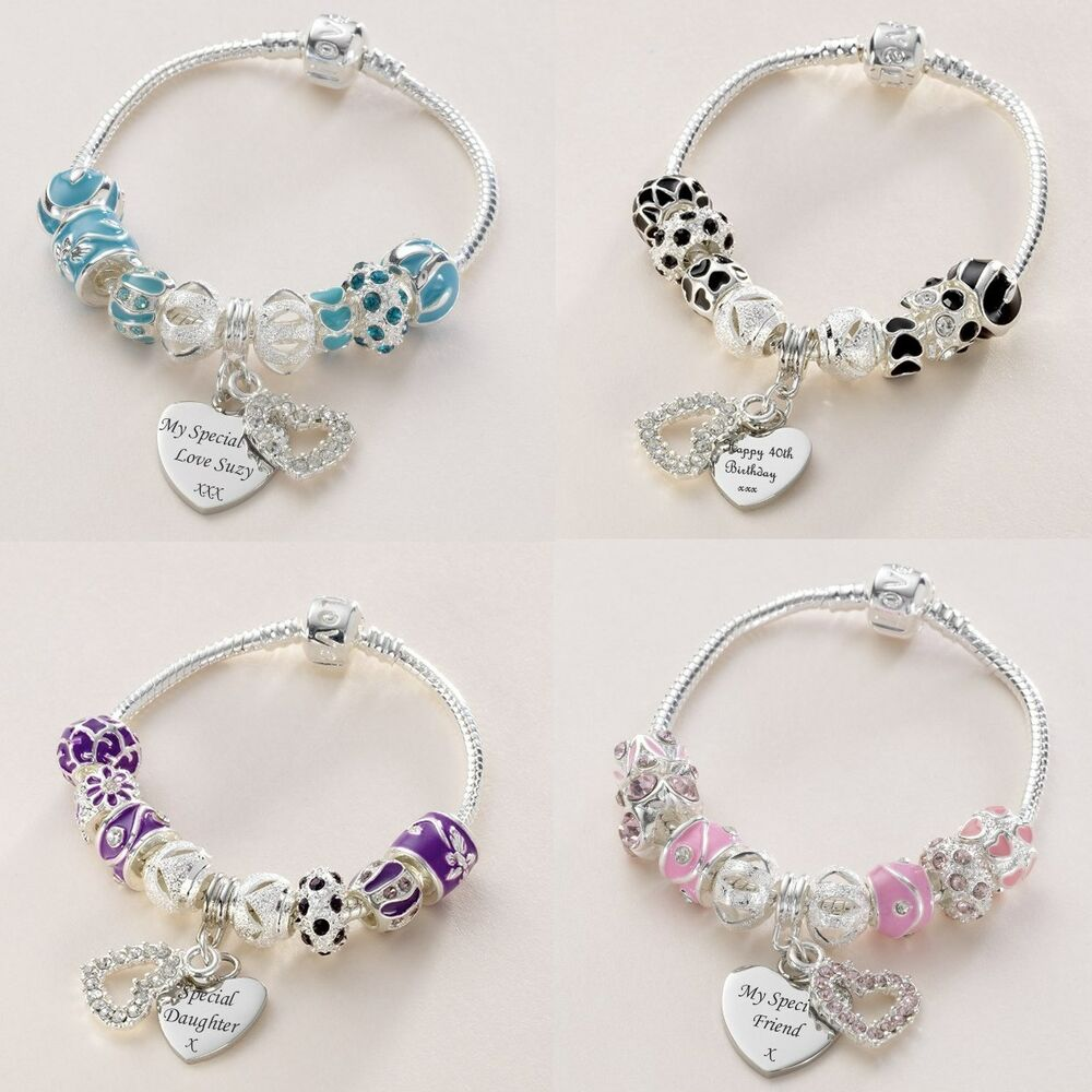 European Charm Bracelets: Personalised European Charm Bracelet With Engraved Heart