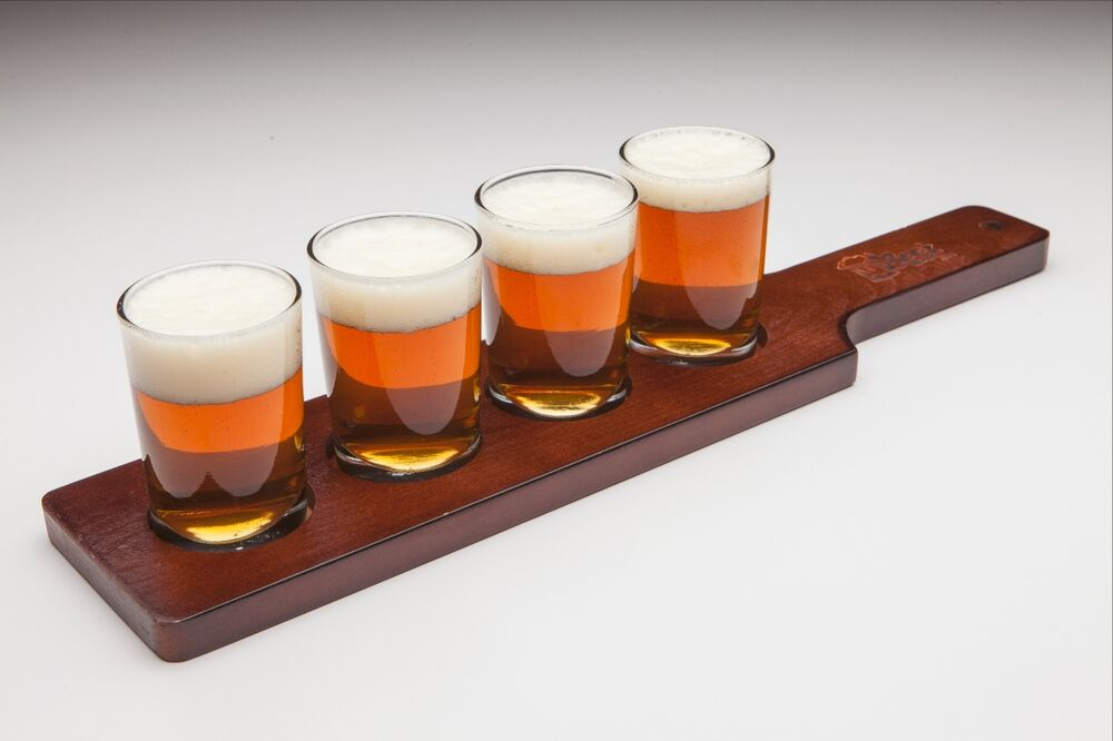Wooden Beer Paddle Beer Taster Set With Glasses