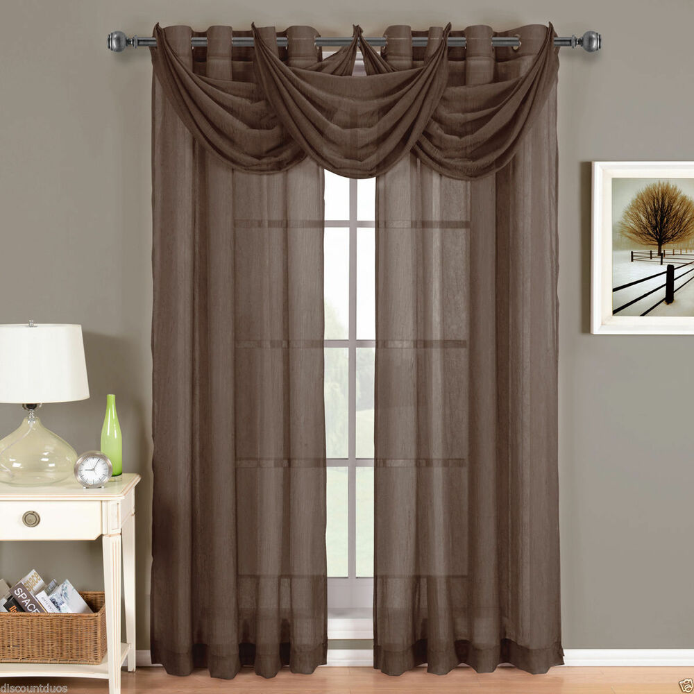 Abri Chocolate Brown Grommet Crushed Sheer Curtain Panel