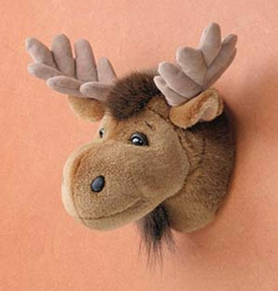 11 moose head plush stuffed animal toy mount new ebay. Black Bedroom Furniture Sets. Home Design Ideas